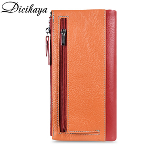 Image 3 - DICIHAYA Soft Genuine Leather Wallet Womens Coin Purse Phone Bag Multi card Bit Card Holder COW Purse Contrast Color Billetera