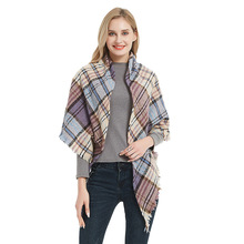 Triangle Women Luxury Plaid Scarf Neck Bandana Fashion Knit Warm Winter Cashmere Shawl Pashmina Lady Wrap Bufanda Mujer