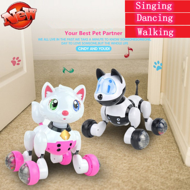 Creative Toy Educational intelligent Voice Control Electric Pet Cat Dog Toy Robot Dog With Sing Dacing Forward Back Walking gift