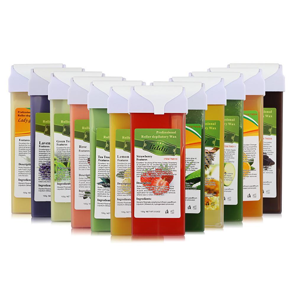 100g Strawberry Aloe Tea Tree Wax Bean Depilation Strips Body Hair Remover Summer Leg Body Face Depilatory Wax Paper