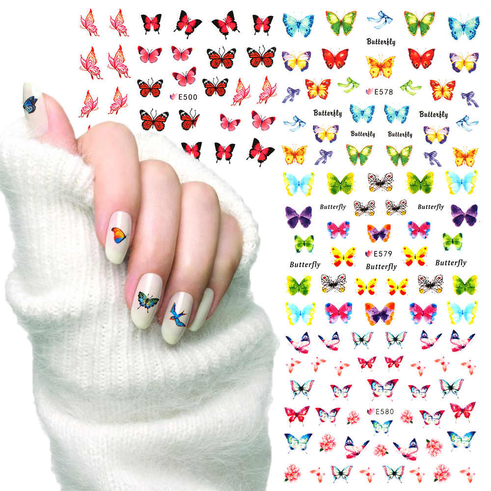 Hot 17Styles 3D Colorful Butterfly Flower Bird Nail Sticker Transfer Decals Nail Art Decoration DIY Manicure Tools Tip