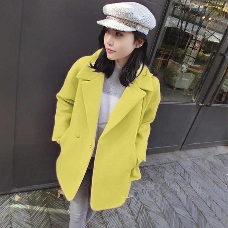 コート女性の冬のウールジャケットロングウールコート秋エレガントな女性の服春ジャケット Casaco Feminino LWL689