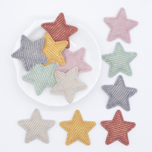 50Pcs/lot 33mm Padded Glitter Cloth Star Applique for DIY Hat Gloves Clothes Leggings Fabric Sewing Headwear Decor Patches L77(China)