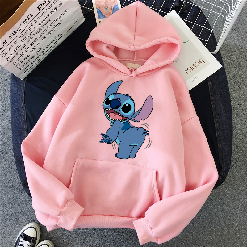 Winter Autumn O-neck Women's Hooded Sweatshirt LILO Hoodie Pullovers Long Sleeves Harajuku Pink Pullovers Lovely Casual Tops