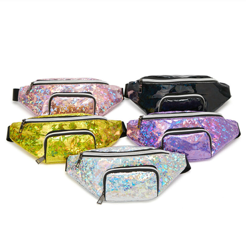 Fashion Women Girls Waist Fanny Pack Belt Bag Pouch Hip Bum Bag Travel Sport Small Purse PVC Black Pink Silver Yellow Purple