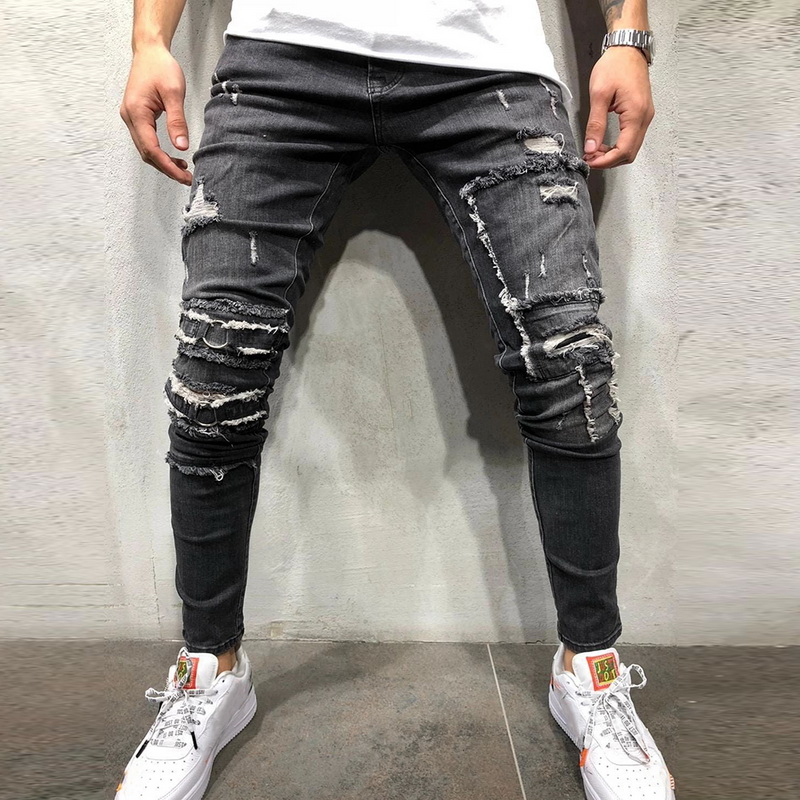 CYSINCOS Streetwear Men's Ripped Skinny Distressed Destroyed Slim Stretch Biker Jeans Men Pants With Holes Full Length Trousers