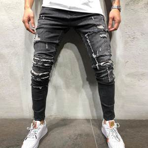 CYSINCOS Men Pants Trousers Biker-Jeans Destroyed Stretch Distressed Ripped Skinny Men's