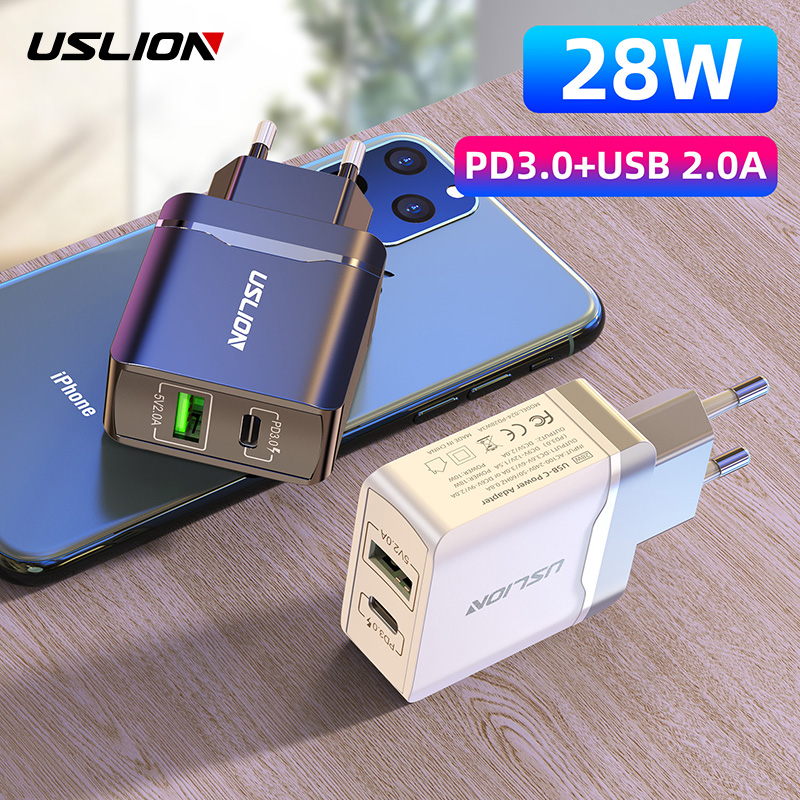 Mega Discount #04344 USLION 28W PD Quick Charger PD3.0 USB