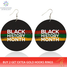 SOMESOOR Both Sides Printed Black History Month Afro Wood Drop Earrings With Africa Colors Melanin Jewelry For Women Gifts