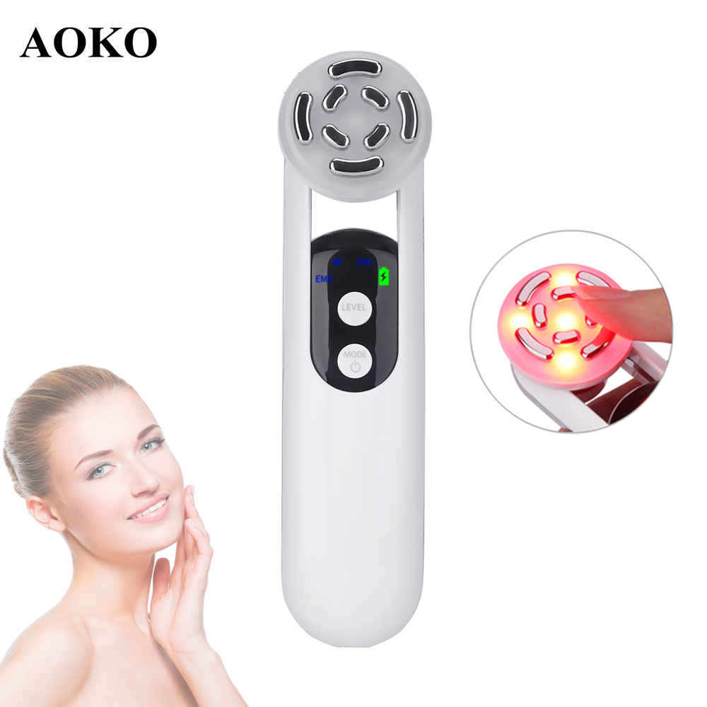 AOKO New Portable EMS RF Facial Beauty Machine LED Photon Device Face Lifting Skin Tighten AntiWrinkle Skin Care Facial Massager