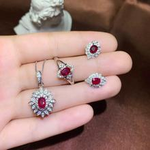 S925 silver inlaid natural pigeon red ruby suit size 4 * 5 mm gem support testing set of with
