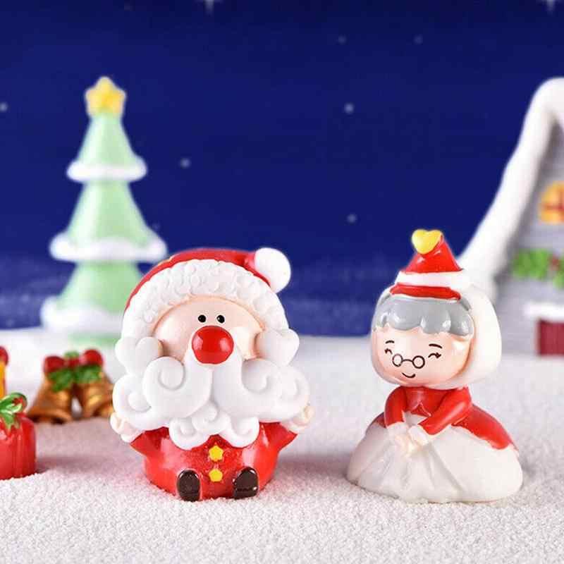 חדש חג המולד מיקרו נוף עץ חמוד שרף אמנות קישוט אביזרי עבור קרח קרם עלה ירח זקן שלג ארנב