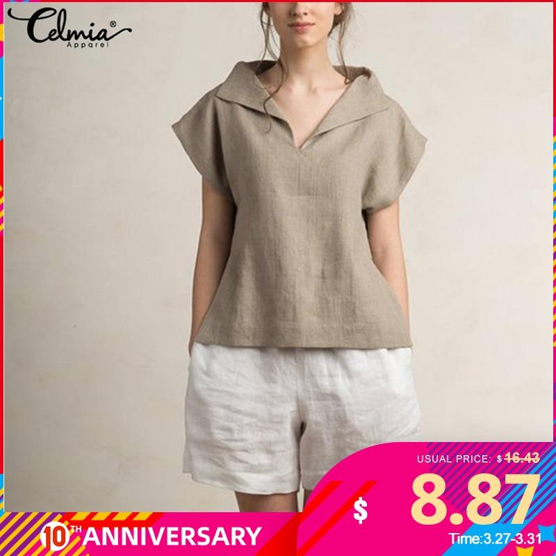 Celmia Women Vintage Linen Tops Plus Size Blouses 2020 Summer V Neck Short Sleeve Shirts Casual Tunic Female Blusas Femininas