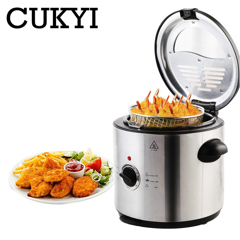 CUKYI mini electric frying machine deep fryer oven 1.5L Removable non stick single tank french fries fryer kitchen cooking tools|Electric Deep Fryers|   - title=