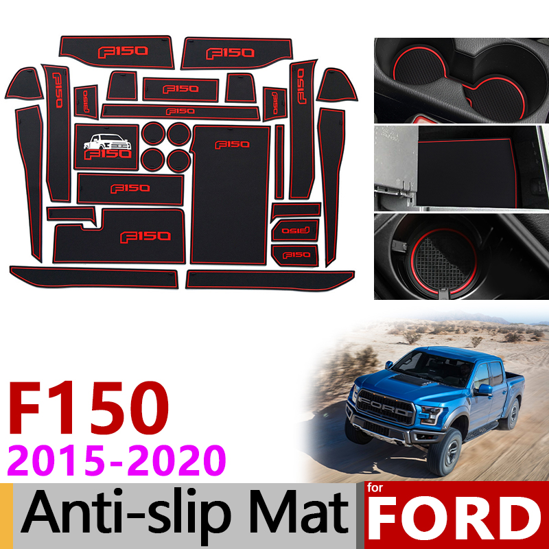 Anti-Slip Mat for Phone Gate Slot Mats Cup Rubber Pads Rug for Ford <font><b>F150</b></font> F-150 Raptor F Series 2015~2019 <font><b>Accessories</b></font> Stickers image