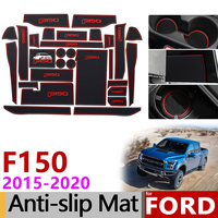 Anti Slip Mat for Phone Gate Slot Mats Cup Rubber Pads Rug for Ford F150 F 150 Raptor F Series 2015~2019 Accessories Stickers