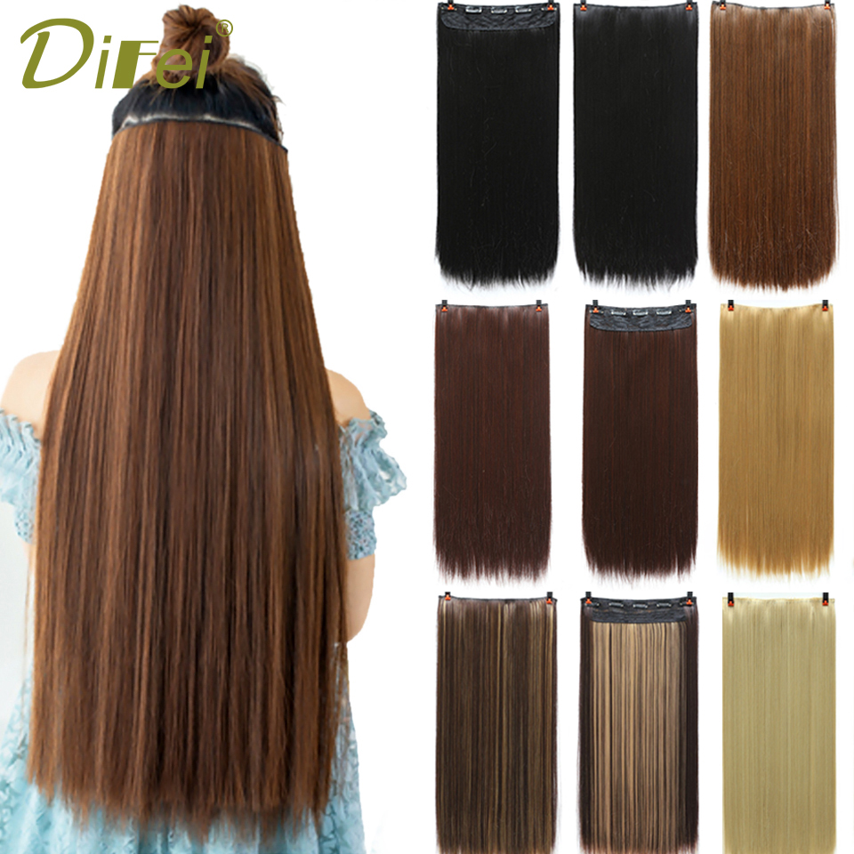 DIFEI 5 Clips In Hair Extensions Silky Straight 24 Inch Synthetic Fake False Hair Piece Clips On Hairpieces For Women 36 Colors