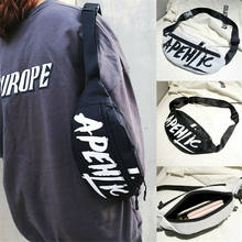 Fashion Unisex Cool Hip-Hop Letter Print Canvas Waist Pack Bum Bag Belt Money Pouch Travel Fanny Pack(China)