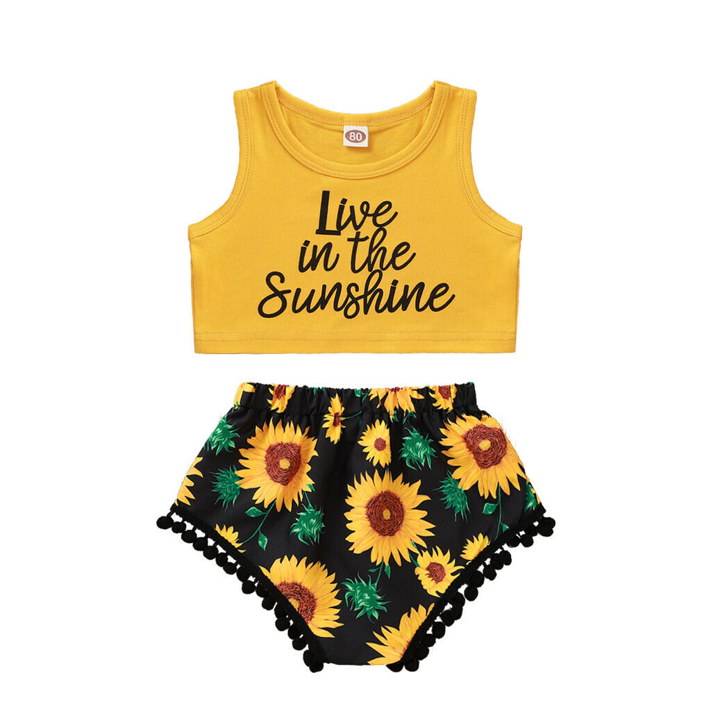 3M-18Months Live In The Sunshine Printed Vest Tops+Sunflower Shorts With Tassels 2pcs Set For New Born Infant Baby Girls Clothes