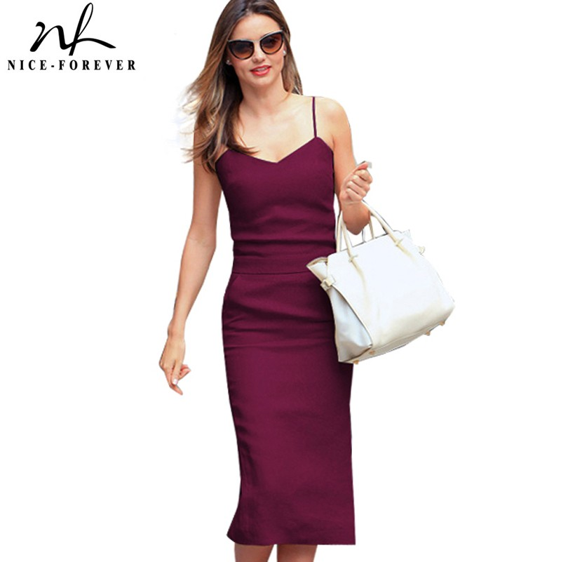 Nice-forever Summer Casual Sexy Mid-Calf With Pocket Dresses Bodycon Sheath Women Slip Dress B304