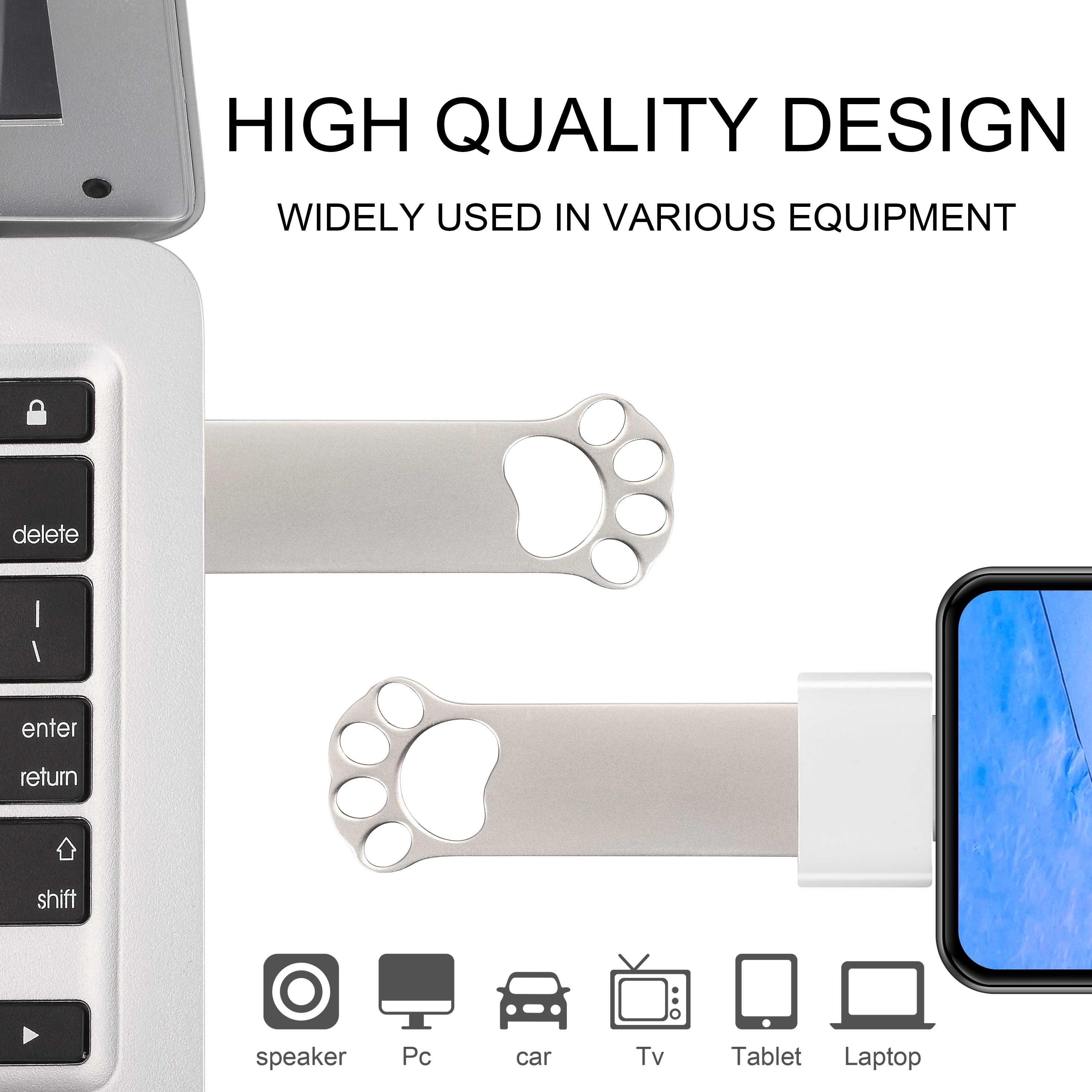Usb Flash Drive Metalen Pendrive128GB Hoge Snelheid Usb Stick 32Gb Pen Drive 64Gb Waterdichte 16Gb Usb Flash 8Gb 4Gb Gratis Adapter