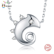 Strollgirl Authentic chameleon Necklaces Cute Style 925 sterling silver Necklace Jewelry Pendant Necklace Graduation Gift New cute rabbit style rhinestone pendant necklace pink silver