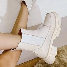 Ботинки женские кожаные с круглым носком без застежки на высоком
