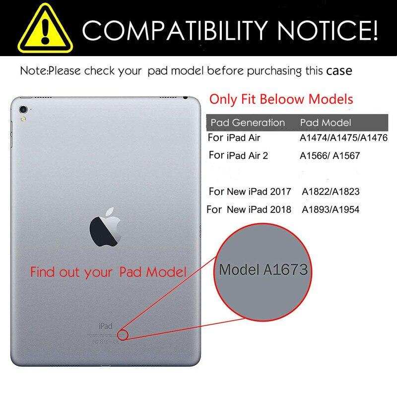"""Capa inteligente para apple ipad air, capa dobrável para ipad air 1 1 1/4 """"a1474 a1475 ipad air 2 a1566 a1567 2"""