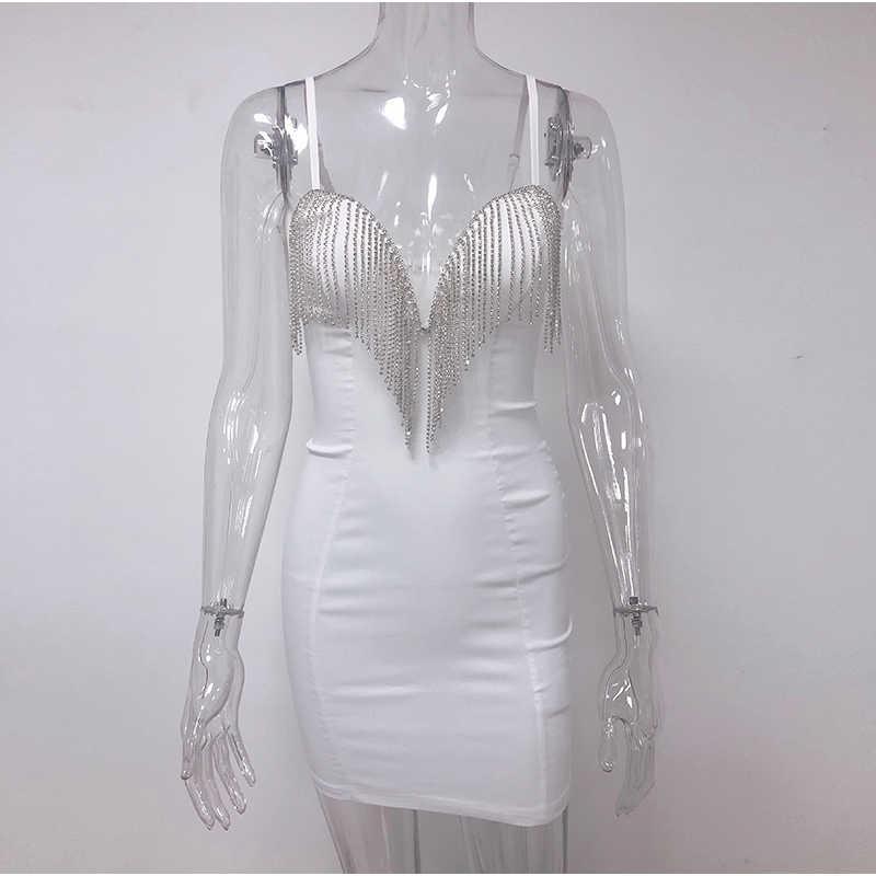 Newasia vestido lantejoula para mulheres, decote profundo em v, com decote profundo, sexy, de festa, para clube noturno, branco