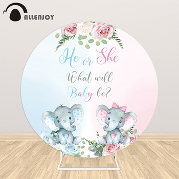 Allenjoy Gender Reveal Round Backdrops Covers Bokeh pastel Pink Blue Flowers Elephant Boy Or Girl Photography Banner Backgrounds - discount item  31% OFF Festive & Party Supplies