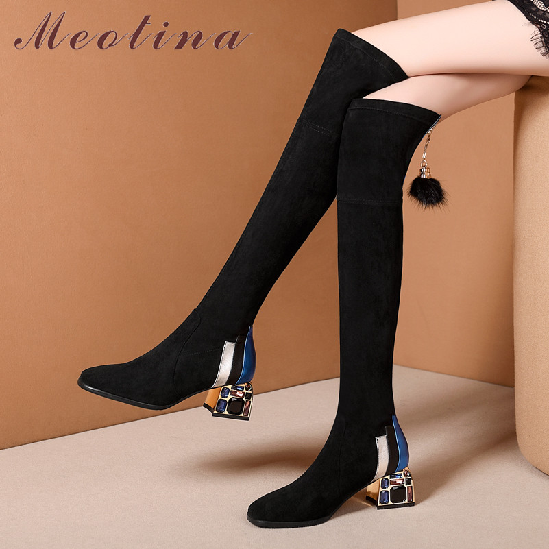 Meotina Stretch-Shoes Boots Rhinestone High-Boots Real-Leather-Block Over-The-Knee Winter title=