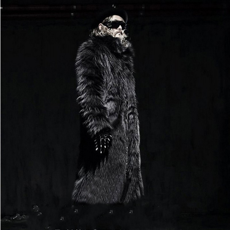 Mens Harajuku Thick Winter Warm Overcoat Black White Faux Fur Long Coat Plus Size S-6XL Male Outwear Loose Sobretudo Masculino