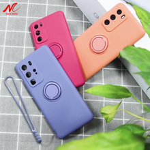 A12 Magnetische Ring Houder Case Voor Samsung A51 A71 A50 A70 Galaxy S8 S9 S10 S20 S21 Plus Note 8 9 10 20Ultra Vloeibare Silicon Cover