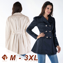 Women Trench Coat Plus Large Size Slim Solid Double Breasted Turm-down-Collar Wind-breaker Female Outwear 2021 Spring Overcoat