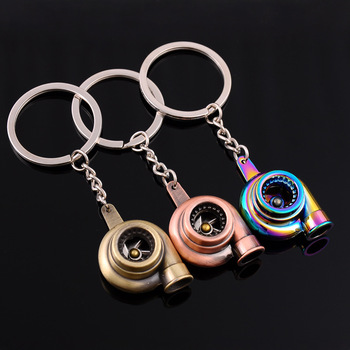 Car Wheel Rim Tyre Keychain with Brake discs Silver Turbocharger Auto Creative Key Ring Xmas Men Gift 3D Keyring For BMW Audi image