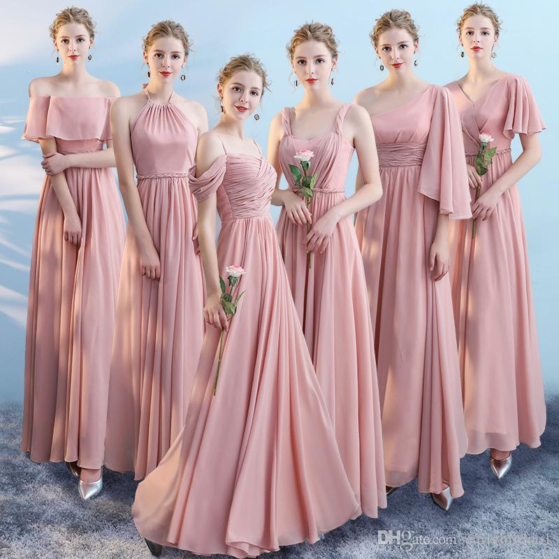 Dusty Pink Cheap Chiffon A-line Bridesmaid Dresses Plus Size Long Wedding Guest Gown Formal Party Prom Dresses