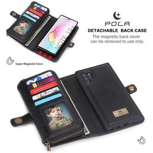 Image 4 - For Samsung Note 10 Plus Wallet Case Luxury Zipper Detachable Magnetic Leather Cover Case for Samsung Galaxy Note 10 S10 S9 Plus