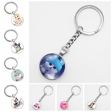 2019 Hot Sale High Quality Girl 3 Color Cute Cat Glass Cabochon Keychain Jewellery Gift Pieces From The Batch