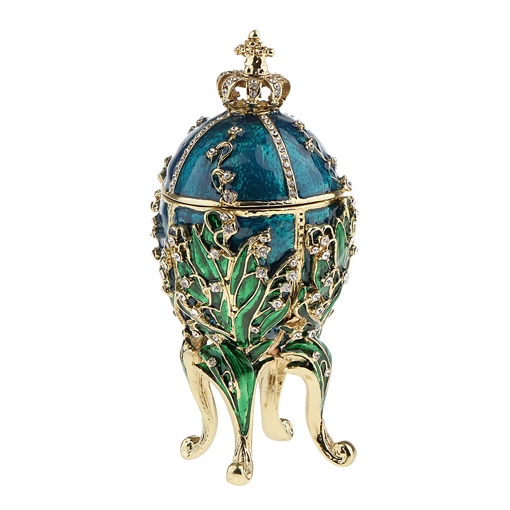 Blue Enamel Rhinestone Flower Carving Easter Egg Jewelry Storage Box Holder