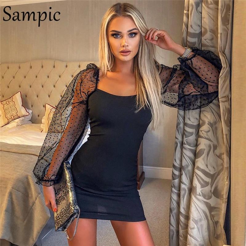 Sampic Woman Mesh Backless Party Club Long Sleeve Bodycon Dress Causal Autumn Summer Wrap Mini Dress 2019