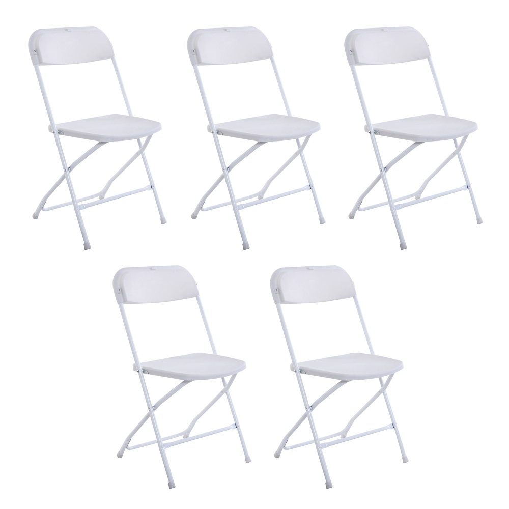5Pcs Plastic Folding Chair Banquet Chairs Camping Beach Foldable Chair Stackable White Chairs For Wedding Party Event - US Stock