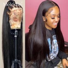 Melodie 30 32 Polegada osso em linha reta 13x4 frente do laço perucas de cabelo humano brasileiro virgem cabelo natural laço peruca frontal para preto