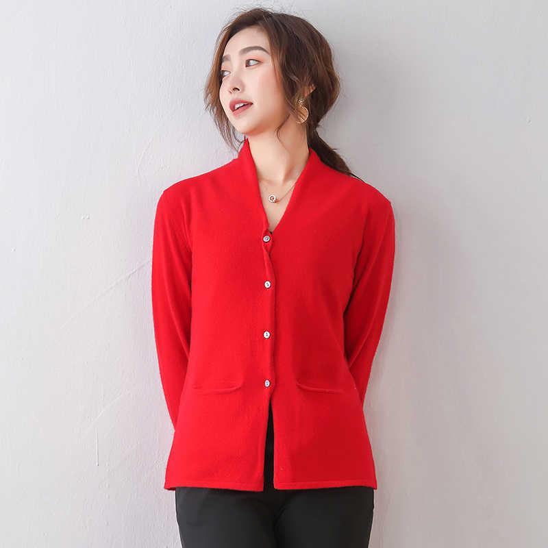 100% 메리노 울 여성용 니트 자켓 2020 New Arrival Sping 여성 카디건 긴 소매 v 넥 6 색 표준 스웨터