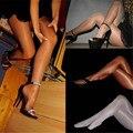 Женские колготки, сексуальные блестящие колготки, глянцевые эластичные колготки, однотонные прозрачные кружевные колготки для женщин