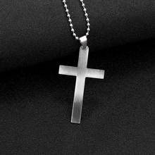 1 Pc Fashion Classic Mens Cross Pendant Necklace 24 Stainless Steel Link Chain Statement Jewelry