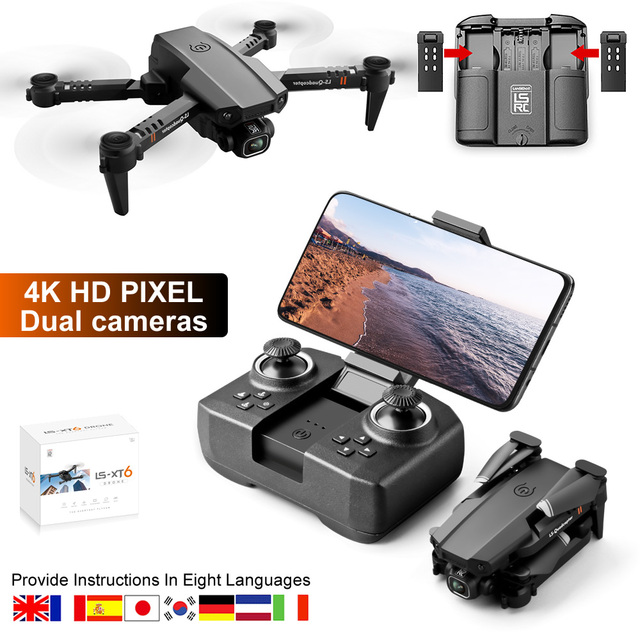 LS-XT6 Folding Quadcopter RTF Dual Camera 4K HD RC Mini Drone Altitude Hold WiFi FPV Remot Control Helicopter Toy Free Shipping 1