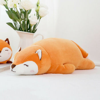 New Creative Crouching Fox Doll Plush Toy Childrens Birthday Gift Crawling Pillow Down Cotton Padding