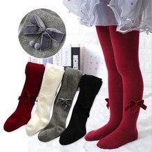 Мягкие дышащие колготки для маленьких девочек, Осенние, широкие, бархатные, с бантом, дизайнерские колготки для девочек, чулки, одежда, теплые детские штаны 2-8
