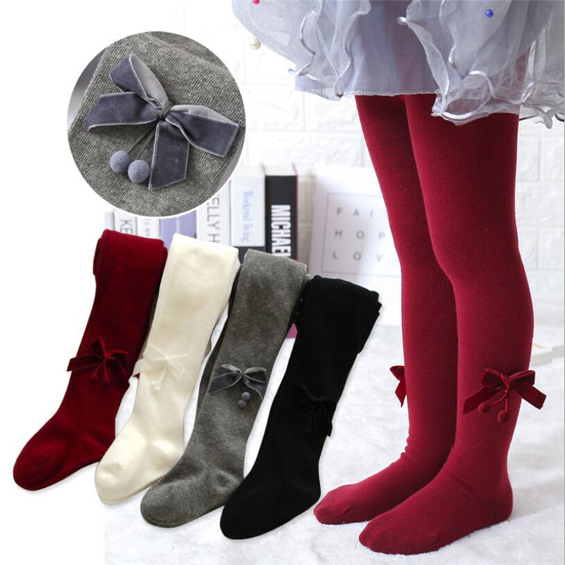 Soft Breathable Little Girls Pantyhose Fall Wide Velvet Bowknot Design Tights For Girls Stocking Clothes Warm Children Pants 2-8