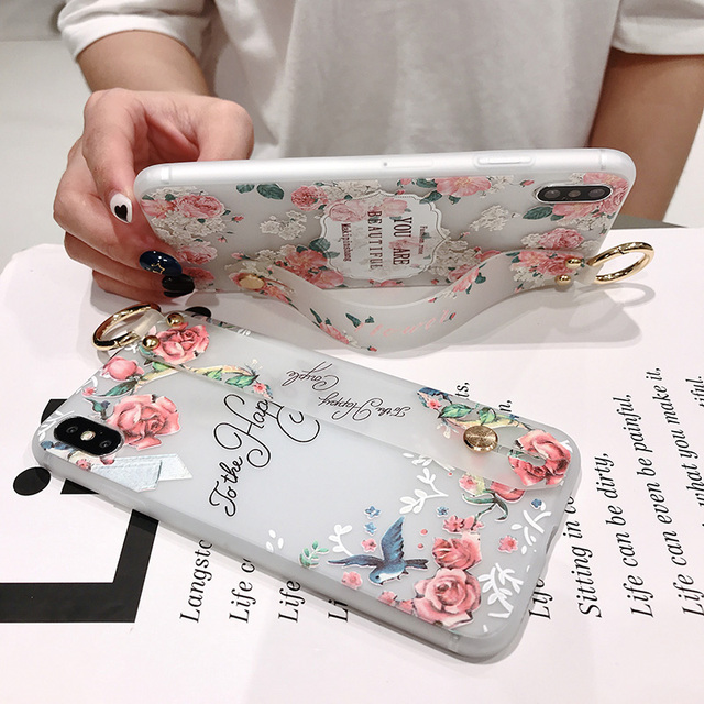 For Samsung Note 10 Plus Protective Case Flower Wrist Strap TPU Case Cover for Samsung Note 8 9 10 S8 S9 S10 Plus Holder Case